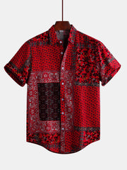 Mens Red Printed Summer Short Sleeve Ethnic Style Loose Casual Shirts - Slabiti