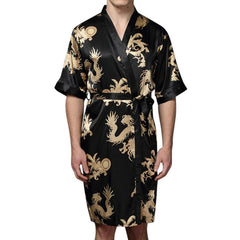 Mens Plus Size Retro Luxury Stain Japanese Kimono Chinese Dragon Ice Silk Sleepwear Robes - Slabiti