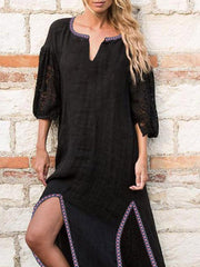 Lace Stitching Split Dress - Slabiti