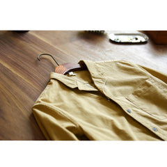 Men Thin Corduroy Solid Chest Pocket Revere Shirts - Slabiti