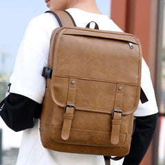 Vintage Faux Leather Anti-Theft  Backpack Business Bag For Men - Slabiti