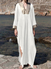 Women Casual Bohemia Kaftan High Split Maxi Dress