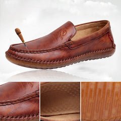 Non-Slip Casual Hand Stitching Leather Soft Sole Walking Oxfords - Slabiti