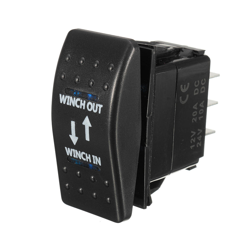 12V 20A (ON)-OFF-(ON) Rocker Switch Momentary Winch In Winch Out LED 7-Pin - Slabiti