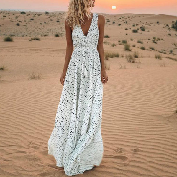 Women Polka Dot Print Beach Sundress V-neck Maxi Dress