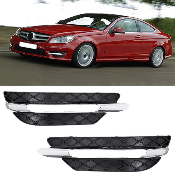 Front Bumper DRL Daytime Running Lights Grill Cover Left/Right for Mercedes-Benz W204 C-Class 2011-2013 - Slabiti