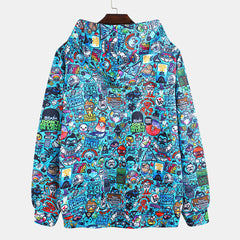 Fashion Graffiti Printing Hooded Long Sleeve Sweatshirt - Slabiti
