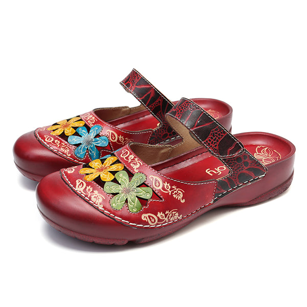 SOCOFY Handmade Floral Flat Leather Sandals