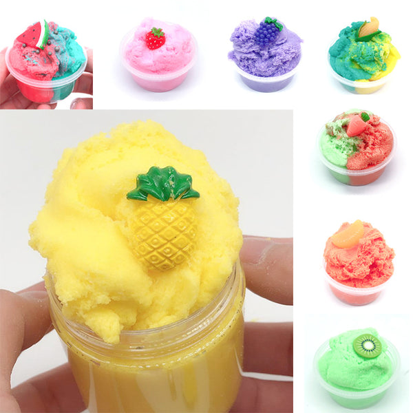 120ML Fruit Slime Brushed Crystal Cotton Clay Decompression DIY Gift Stress Reliever - Slabiti
