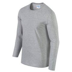 Mens 100%Cotton Solid Long Sleeve O-Neck Casual T Shirts - Slabiti