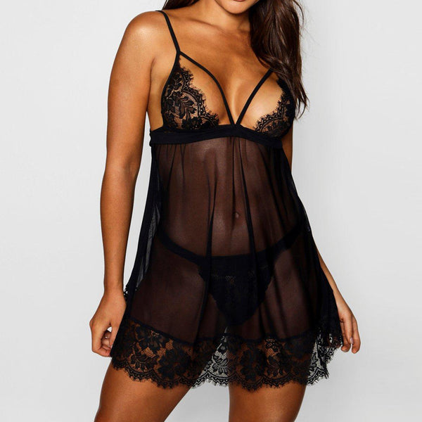 Women Lace Lingerie Black See through Sling Dress
