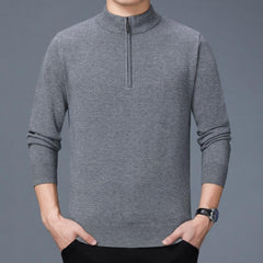 Mens Knitting Fashion Long Sleeve Half High Collar Casual Sweaters - Slabiti
