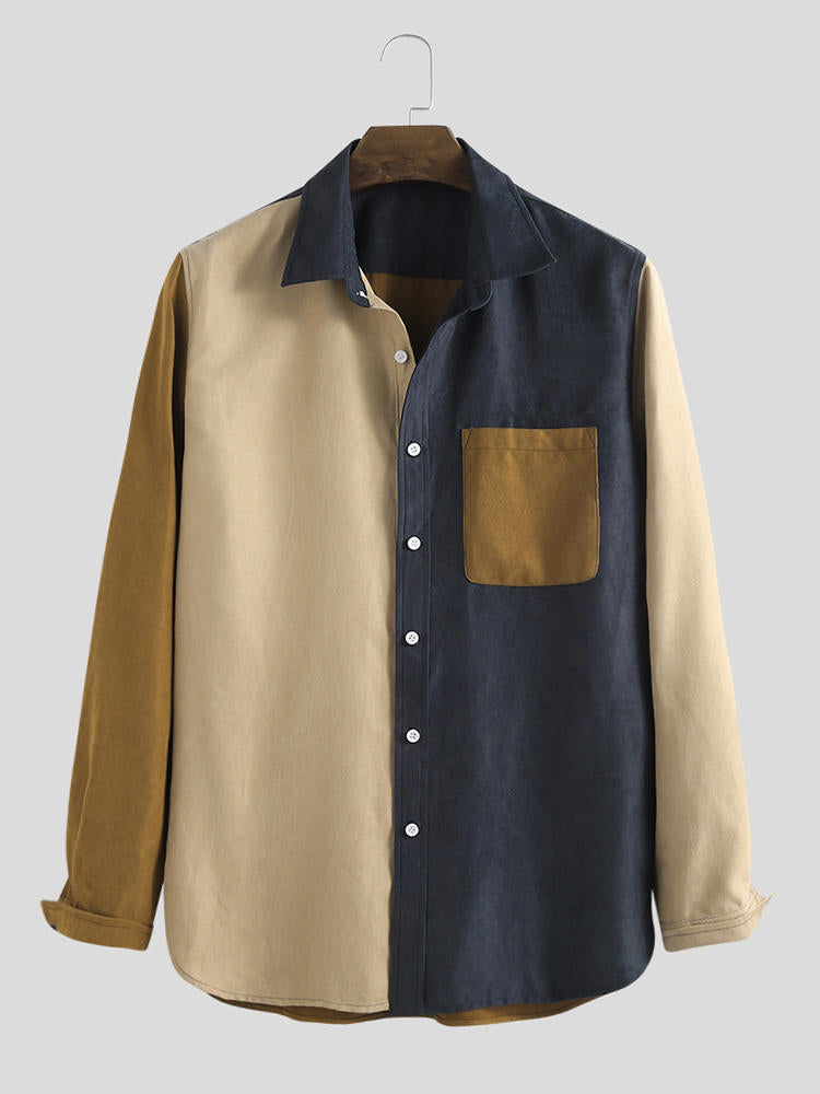 Autumn Corduroy Patchwork Practical Pocket Long Sleeve Casual Shirts - Slabiti