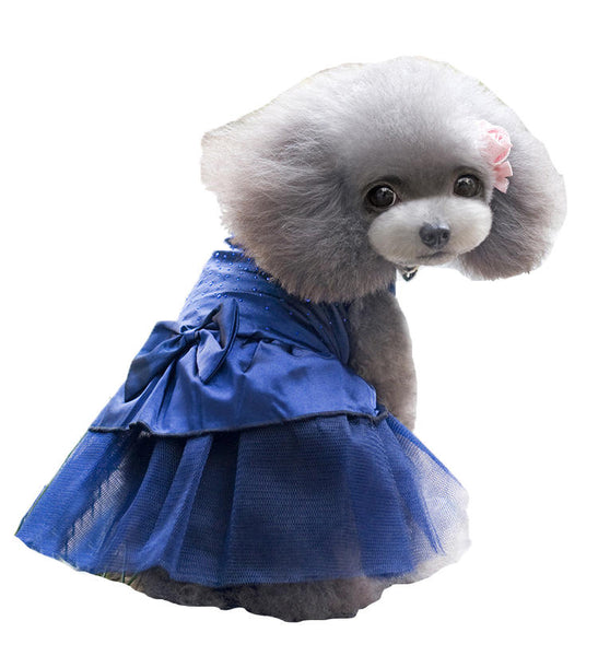 Summer Dog Dress Puppy Hot Drilling Wedding Dress Lace Doggy Skirt - Slabiti