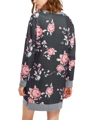 Women Floral Long Sleeve Pocket Sweatshirt
