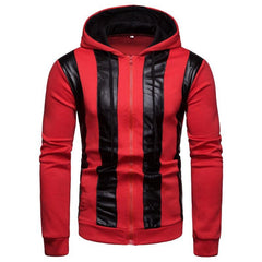 Men Color Block Zipper Patchwork Hooded Sweatshirt - Slabiti