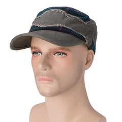 Mens Grid Patch Cotton Flat Top Hat Summer Military Outdoor Sunshade Visor Baseball Cap - Slabiti