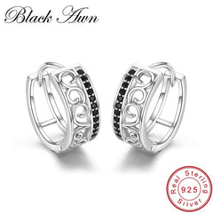 925 Sterling Silver Black Spinel Trendy Engagement Hoop Earrings for Women Fine Jewelry Bijoux Pendientes Mujer Moda 2019  I030 - Slabiti