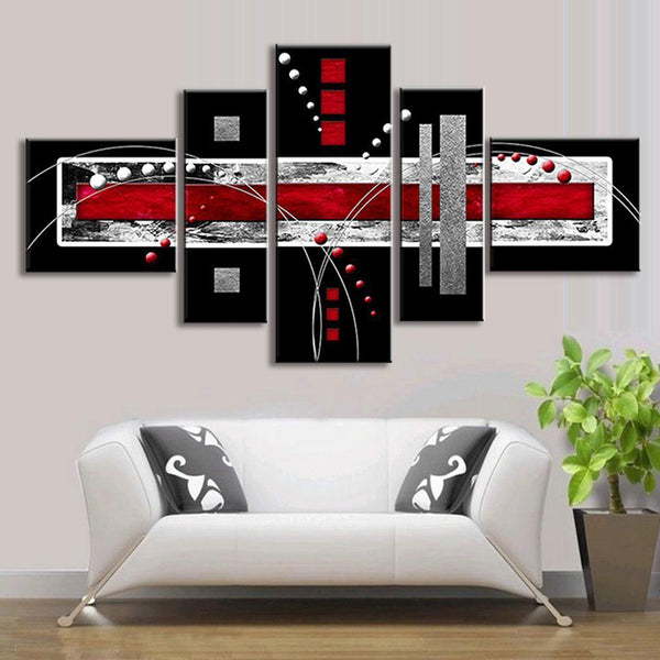5 PCS Abstract Wall Art Red Black Grey Modern Canvas Print Paintings Home Decorations - Slabiti