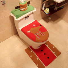3PCS Christmas Santa Toilet Seat Covers Wtih Tissue Box and Rug Bathroom Set Christmas Decor - Slabiti