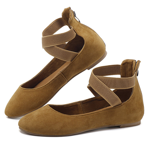 Women Casual Suede Flats Cross Shoes - Slabiti