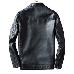 Men Zipper Dual Pockets Stand Collar Leather Jacket - Slabiti