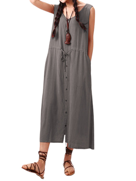 Women Drawstring Waist Buttons Side Pockets Sleeveless Dress