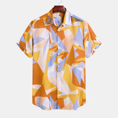 Mens Geometric Color Blocks Printed Short Sleeve Loose Casual Shirts - Slabiti