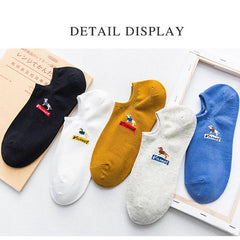 Mens Cotton Breathable Invisible No Show Socks Soft Low-Cut Ankle Sock - Slabiti