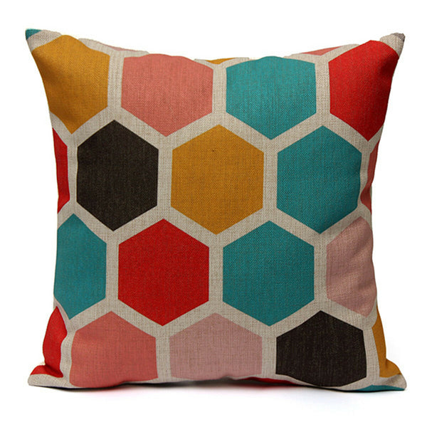 Geometric Abstract Printed Cushion Cover Sofa Bed Pillow Case Pillow Cover - Slabiti