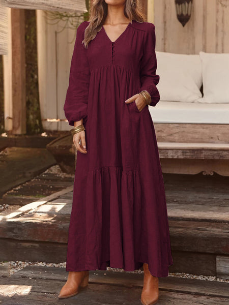 Women Solid Color V-neck Long Sleeve Causal Maxi Dress - Slabiti