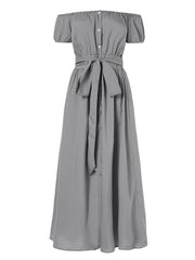 Women Off Shoulder Button Pleated Split Hem Long Maxi Dress