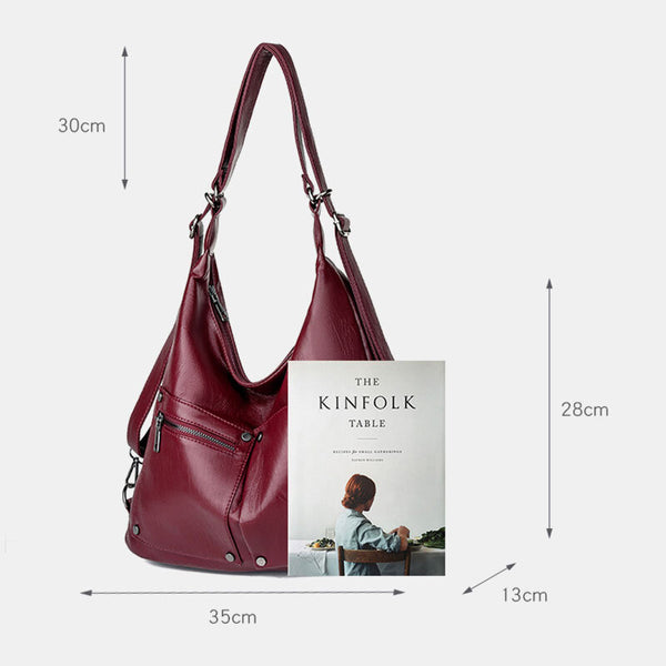 Multifunctional Faux Leather Large Capacity Handbag Shoulder Bag Backpack For Women - Slabiti
