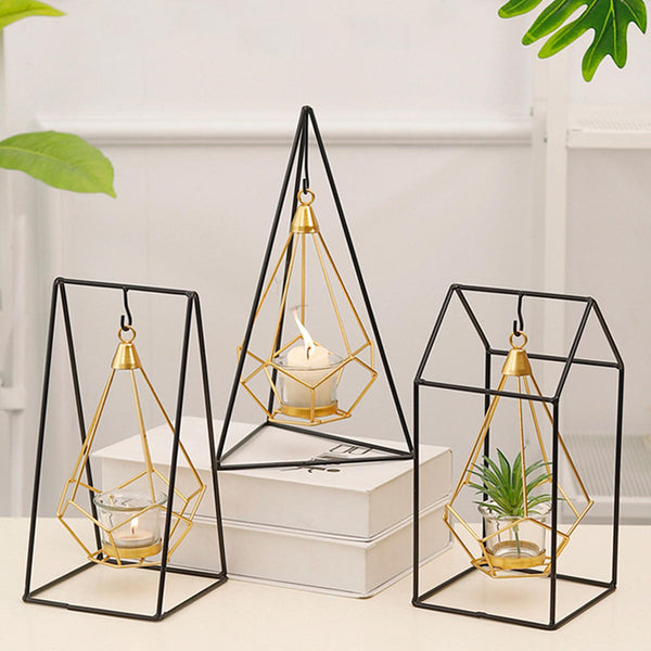 Nordic Style 3D Geometric Candlestick Metal Hanging Candle Holder Home Decor Art