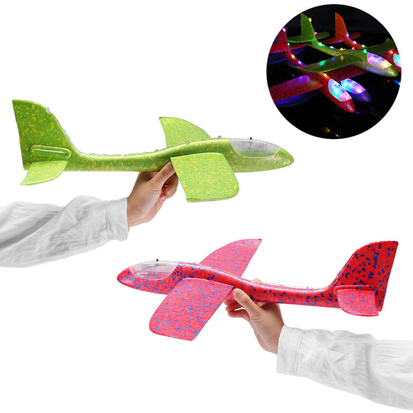 48cm 19'' Hand Launch Throwing Aircraft Airplane Glider DIY Inertial EPP Plane Toy With LED Light - Slabiti