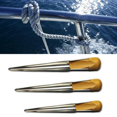 Rope Splicing Threader Spike With Wooden Handle Strand Rigger Stainless Steel Marine Hardware - Slabiti