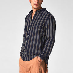 Mens 100% Cotton Striped Stand Collar Long Sleeve Loose Buttons Fly Casual T-shirts - Slabiti