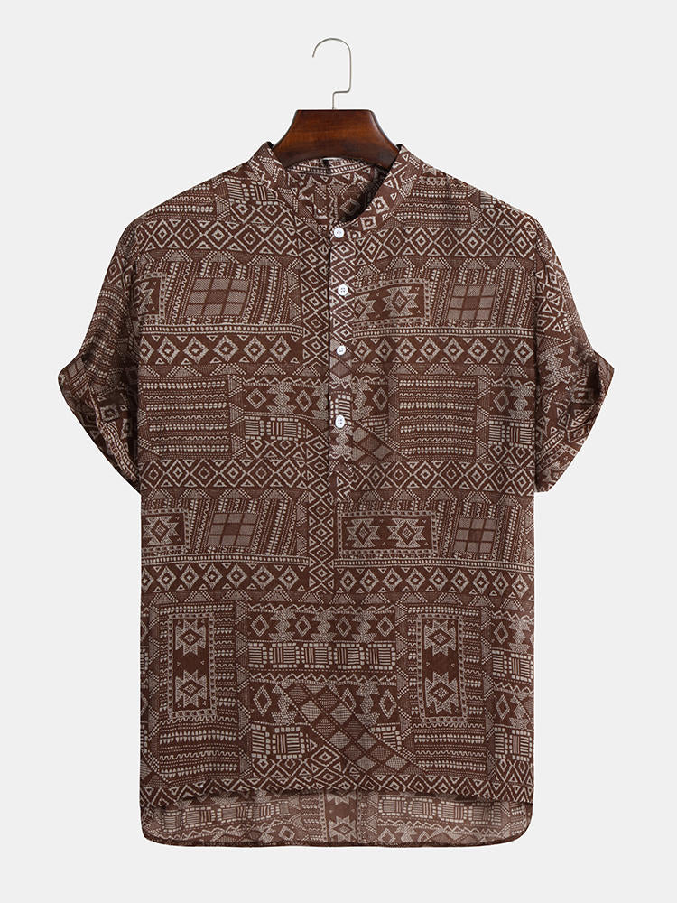 Mens Abstract Printing Ethnic Style Short Sleeve Loose Casual Henley Shirts - Slabiti