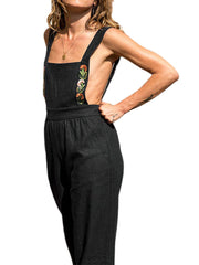 Women Casual Wide Leg Pockets Strap Jumpsuit