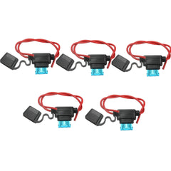 5x Waterproof Car Auto 15Amp In Line Blade Fuse Holder Fuses - Slabiti