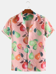 Colourful Pears Print Short Sleeve Revere Shirts - Slabiti