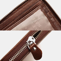 Men Genuine Leather Bifold 9 Card Slots Zipper Arround Wallet Purse - Slabiti