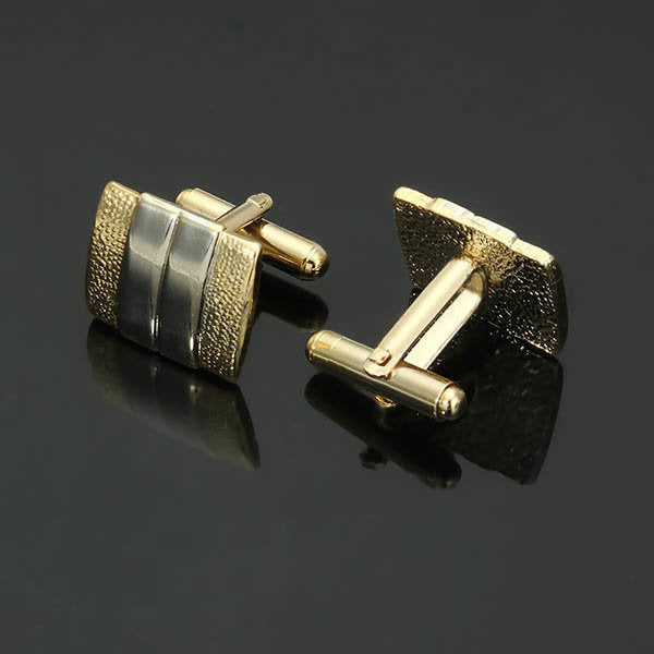 Men Formal Scrub Lavalier Cufflink Suit Business Iron Double Color Geometry Lavalier Cufflink - Slabiti
