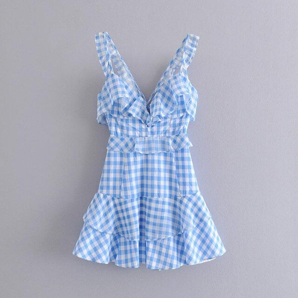 A Line Dress Beach Wear Sleeveless Dress Mini V Neck Dress Female Pleated Plaid Dress Home Summer A6010 - Slabiti