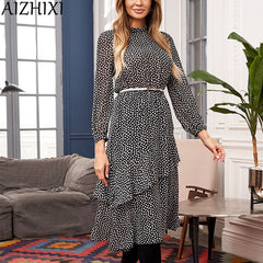 AIZHIXI Ladies Boho Ruffles Chiffon Dress Women Stand Collar Long Sleeves Chic Bottom Midi Printed Autumn Dresses Female Vestido - Slabiti