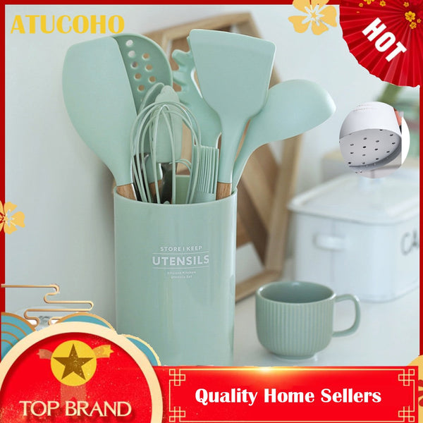 ATUCOHO 12PCS Kitchen Utensils Cooking Kit Silicone Accessories Spaghetti Food Clip Oil Brush Spatula Egg Beater Kitchen Tools