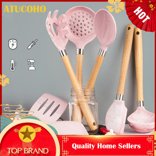 ATUCOHO Food Grade Silicone kitchenware Set kitchen Cooking Healthy Harmless Silicone Wooden Handle Kitchenware