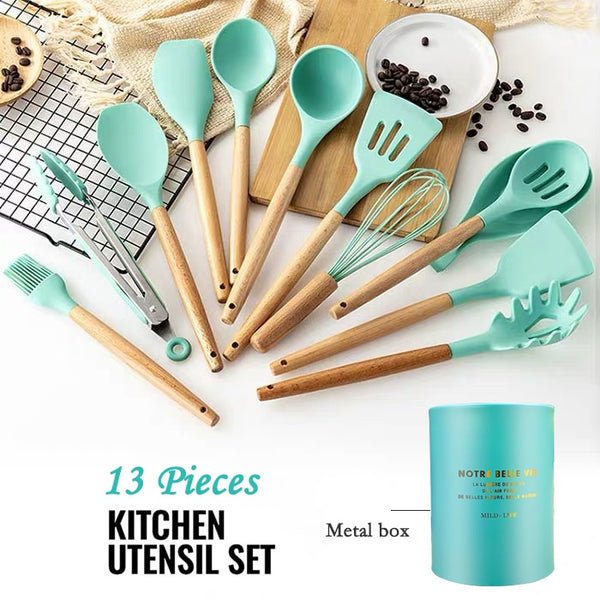 ATUCOHO Store 12/13 Pieces Silicone Cookware Wooden Handle Set Of kitchenware With Stainless Steel Storage Box Cooking Tools