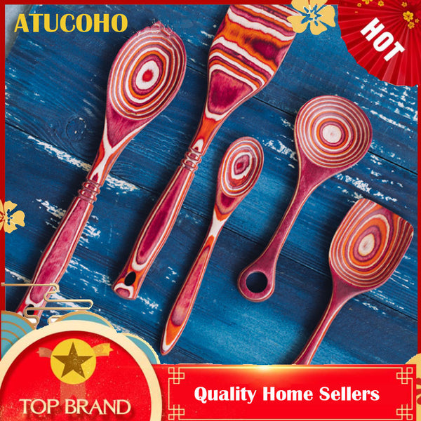ATUCOHO Store 7PCSilicone Wood Turner Soup Spoon Spatula Brush Scraper Pasta Server Egg Beater Kitchen Cooking Tools Kitchenware