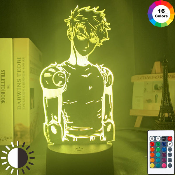 Acrylic Led Night Light Lamp Anime One Punch Man Genos Figure Desk 3d Lamp for Kids Child Room Decorative Nightlight Manga Gift - Slabiti